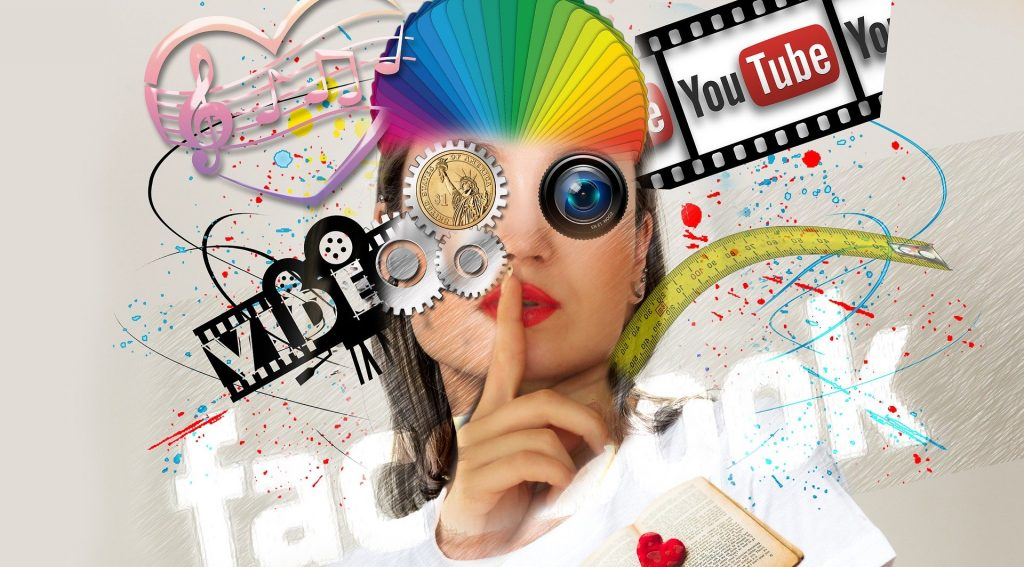 The face of a woman holding a finger to her lips and overlaid by social media logos and colorful images